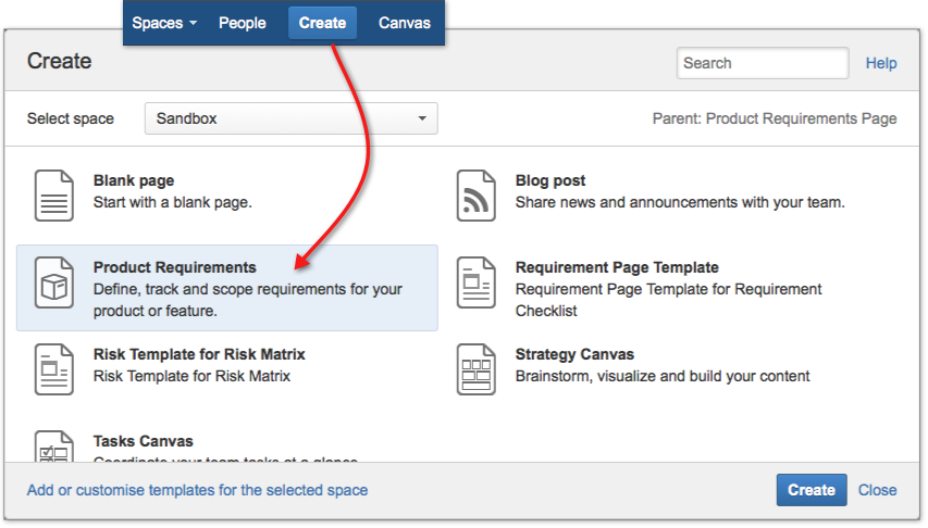 Confluence trick to create pages from blueprint templates for Confluence create page template