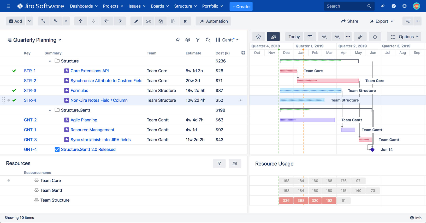 Structure and Structure.Gantt for Jira