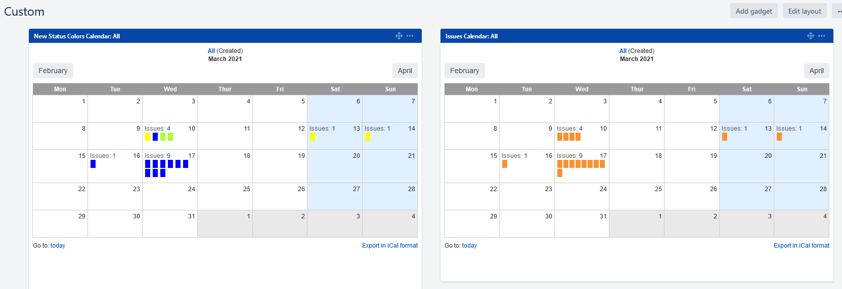 New calendar Jira dashboard gadget with color by status